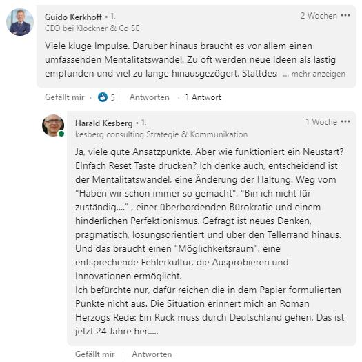 LinkedIn-Kommentar von Guido Kerkhoff und Harald Kesberg
